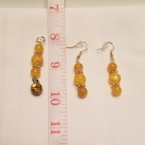 🌅 Sunny yellow earring and pendant set
